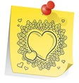 doodle sticky note heart vector image vector image