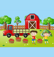 farm scene with two boys with apples in basket vector image vector image