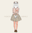 fashion animal cute goat hipster girl character vector image vector image