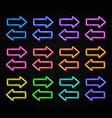 glowing color neon arrows set on black brick wall vector image vector image