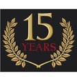 golden laurel wreath fifteen years anniversary vector image vector image