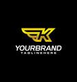 golden wing shield luxury initial letter k logo vector image vector image