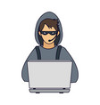 hacker with laptop vector image