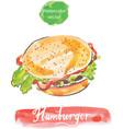 hamburger watercolor vector image