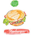 hamburger watercolor vector image vector image