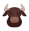 Head of bull icon in cartoon style isolated on vector image