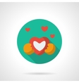 Heart gift round flat color icon vector image