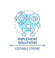implement solutions blue concept icon vector image vector image