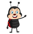 lady bug is happy on white background vector image vector image