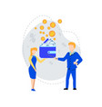 man explaining to woman money handling strategy vector image