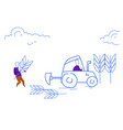 men plowing field successful farming harvest vector image
