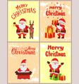 merry christmas greeting cards with santa claus vector image vector image