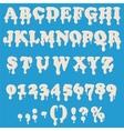 Milk alphabet isolated on white background vector image