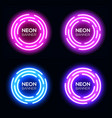 neon light circles set techno frames collection vector image vector image