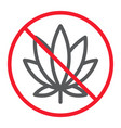 no marijuana line icon prohibition and forbidden vector image