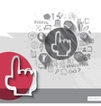 Paper and hand drawn hand cursor emblem with icons vector image vector image