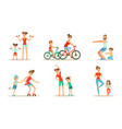 parents with children doing sports exercises vector image