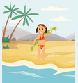 person is drying off with towel after swimming in vector image vector image