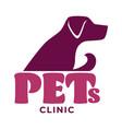 pets clinic vet or veterinarian hospital dog vector image