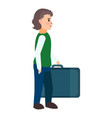 refugee boy travel bag icon flat style vector image