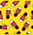 retro red sneaker shoe seamless pattern vector image