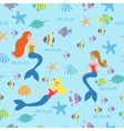 Seamless background with mermaids fish vector image vector image