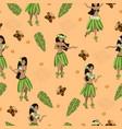 seamless pattern with hawaiian girls image vector image