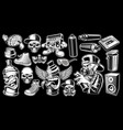 set black and white graffiti stickers vector image