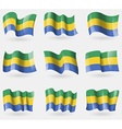 Set of Gabon flags in the air vector image