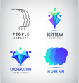 set of human men logos creative group vector image