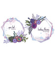 set of two colorful floral frames with vector image vector image