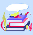 small woman is reading on giant book stack vector image