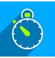 Stopwatch Flat Square Icon with Long Shadow vector image