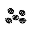 sweet nuts black icon sign on isolated vector image