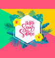 text hello summer in geometric tropical floral vector image