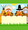 thanksgiving day background with turkey indian vector image