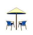 two chairs and umbrella vector image vector image