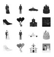 wedding and attributes blackmonochrome icons in vector image vector image