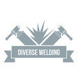 welding tool logo simple gray style vector image vector image