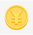 yen symbol on gold coin vector image vector image