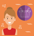 young woman with shopping basket character vector image