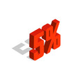 5 percent off sale red isometric object 3d vector image vector image