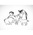 Animals farm set vector image vector image