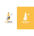 bottle and rocket logo combination beer vector image vector image
