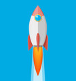 cartoon rocket in sky space ship take off vector image vector image