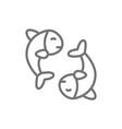 chinese fish puffer fish koi fish line icon vector image vector image