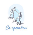 cooperation sketch with men go up stairs together vector image