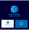crystal logo faceted blue gem business card vector image
