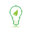 eco bulb with leaf green vector image vector image