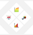 flat icon diagram set of monitoring statistic vector image vector image